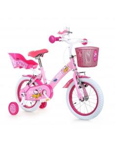 Bicicletta Bimba Hello Kitti Airplane 14 con Portabambola Età 3-4 Anni